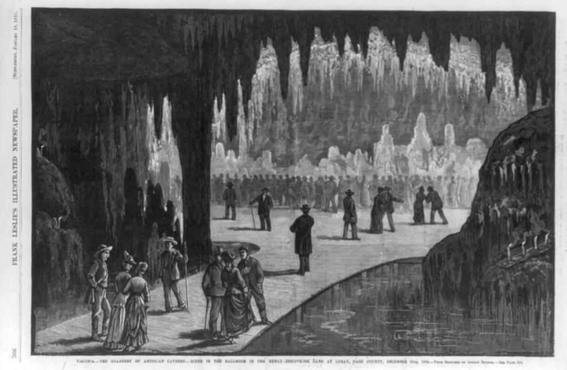 Luray Caverns, Ballroom, Engraving by Joseph Beckett circa 1885 (Library of Congress).